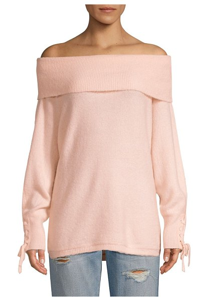 DH New York lace sleeve convertible sweater in bellini