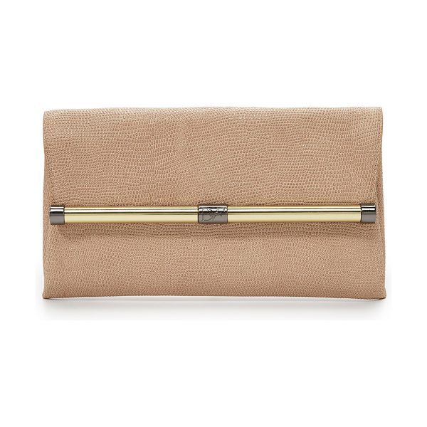 Diane Von Furstenberg 440 shimmer embossed clutch in sand/gold - A refined DVF clutch in shimmery lizard embossed...