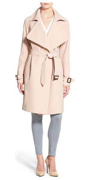 Diane Von Furstenberg anouk soft twill long trench coat in pink - A belted, wrap silhouette and soft twill fabrication...
