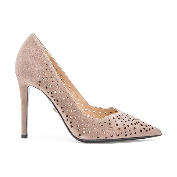 "Diane Von Furstenberg Bonnie heel in taupe - Suede upper with leather sole. Heel measures approx 4""""..."