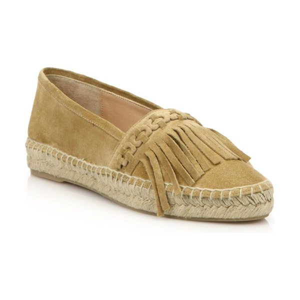 Diane Von Furstenberg cadah fringed suede espadrilles in tan - .Flat espadrille in boho-chic fringed suede. Braided and...
