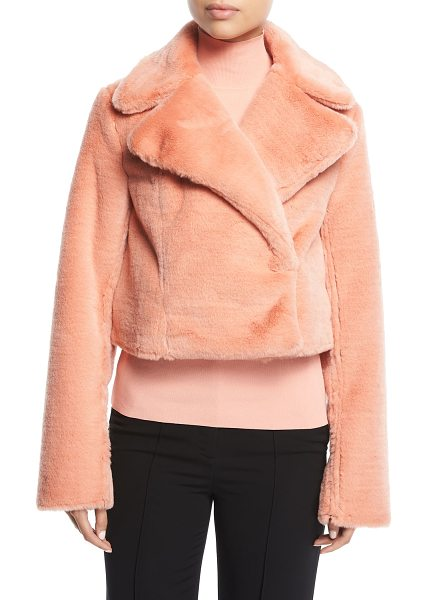 DIANE VON FURSTENBERG Collared Long-Sleeve Cropped Faux-Fur Jacket - Diane von Furstenberg jacket with faux-fur (acrylic)....