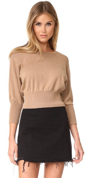 Diane Von Furstenberg crew neck knit pullover in camel melange - This relaxed DVF sweater has a wide, ribbed waistband...