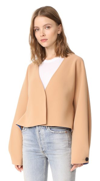 Diane Von Furstenberg cropped button up jacket in camel - An unstructured DVF crop jacket with a relaxed...