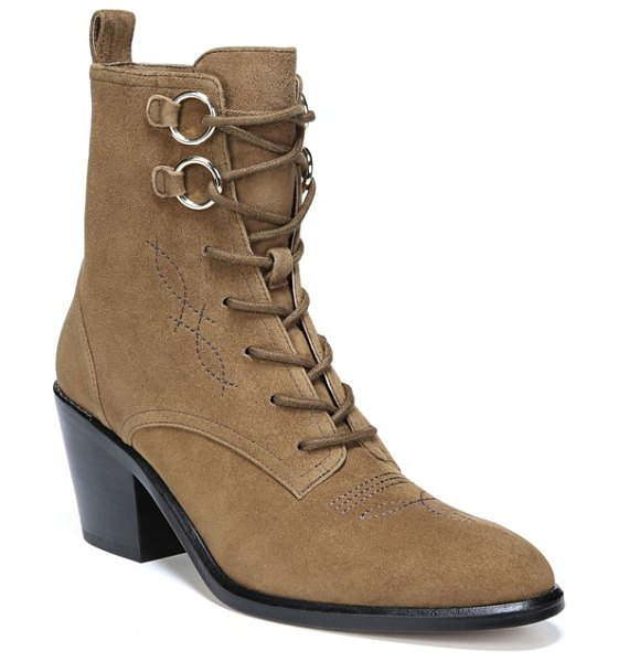 Diane Von Furstenberg dakota lace-up bootie in brown - A heeled bootie cut from luxe materials mixes things up...