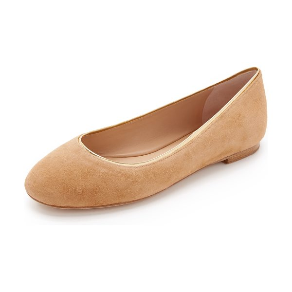Diane Von Furstenberg cambridge ballet flats in fawn - Metallic trim adds a hint of glamour to luxe suede DVF...
