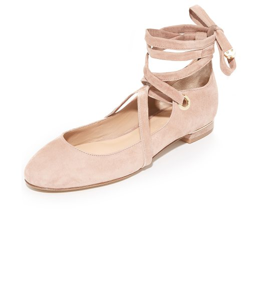 Diane Von Furstenberg dakar lace up ballet flats in powder - Velvety suede DVF ballet flats with polished metal...