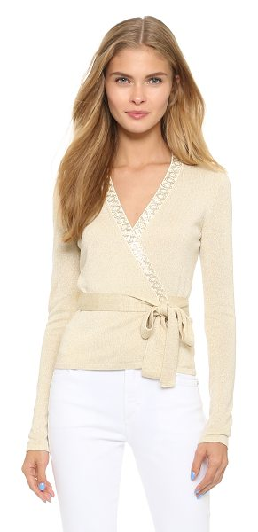 Diane Von Furstenberg Embellished ballerina wrap sweater in ivory/gold - A fitted DVF wrap sweater with metallic sheen. Beading...
