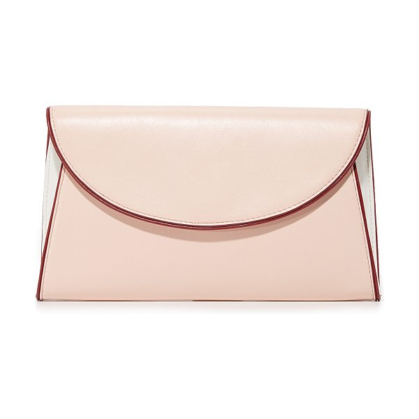 Diane Von Furstenberg evening clutch in petal/ivory/red wine - A sophisticated DVF clutch in colorblock suede. The...