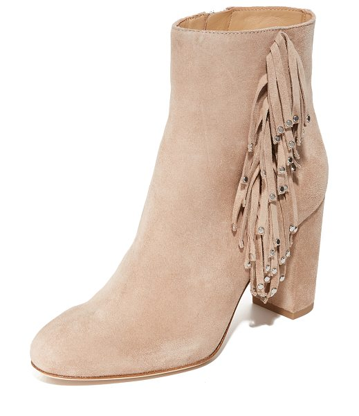 DIANE VON FURSTENBERG forti fringe booties in cipria - Polished studs trim the fringe on these suede DVF...