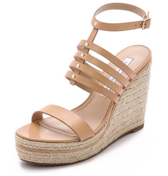 Diane Von Furstenberg Gabby wedge espadrilles in natural - Shiny studs join the skinny straps on these towering DVF...