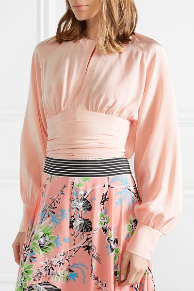 Diane Von Furstenberg gathered cropped silk wrap blouse in pastel pink - Diane von Furstenberg's elegant pieces climbed to fame...