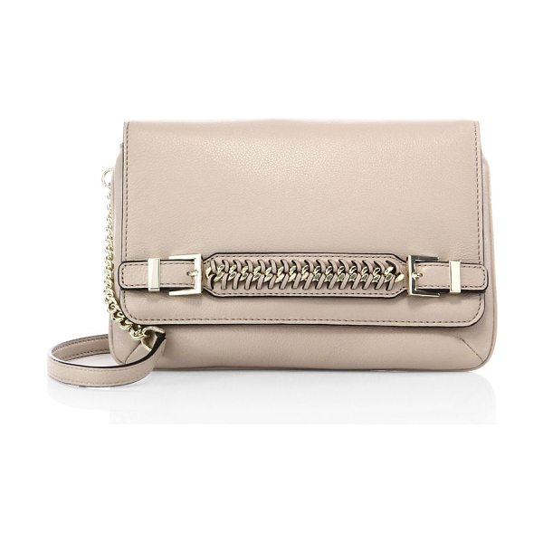 Diane Von Furstenberg Iggy chain leather clutch in latte - Compact leather clutch with woven chain-trim...