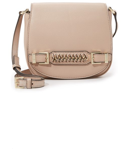 Diane Von Furstenberg Iggy saddle bag in latte - A slim handle with woven trim details the front flap of...