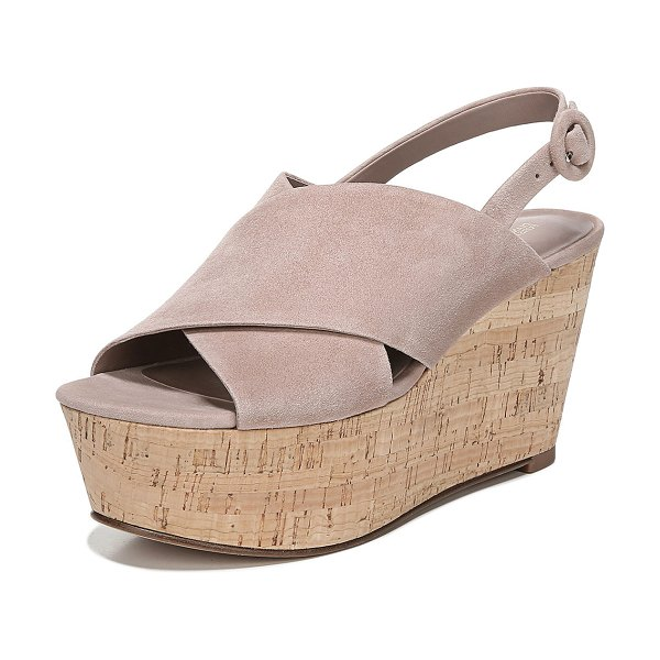 Diane Von Furstenberg Juno Suede Platform Wedge Sandals in powder