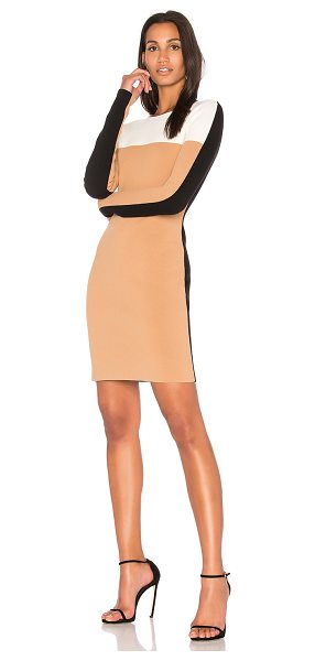 Diane Von Furstenberg Knit Colorblock Dress in tan - Nylon blend. Dry clean only. Unlined. Ponte knit fabric....