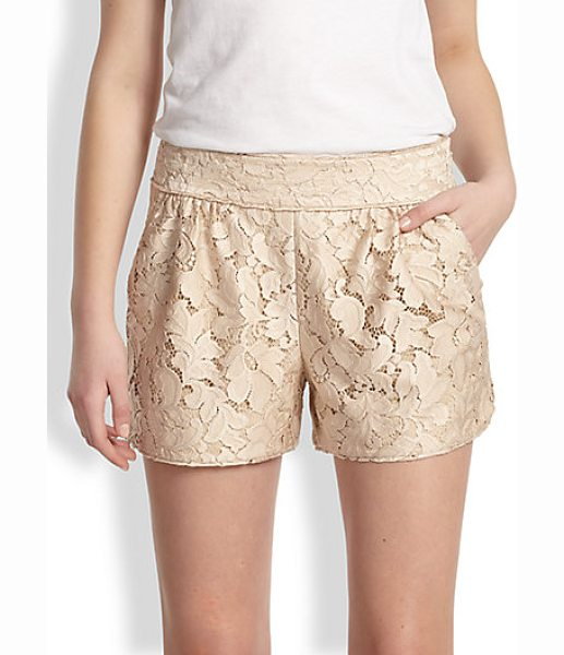 Diane Von Furstenberg Madonna lace shorts in desertsand - A tailored style in intricate floral lace with a subtle...