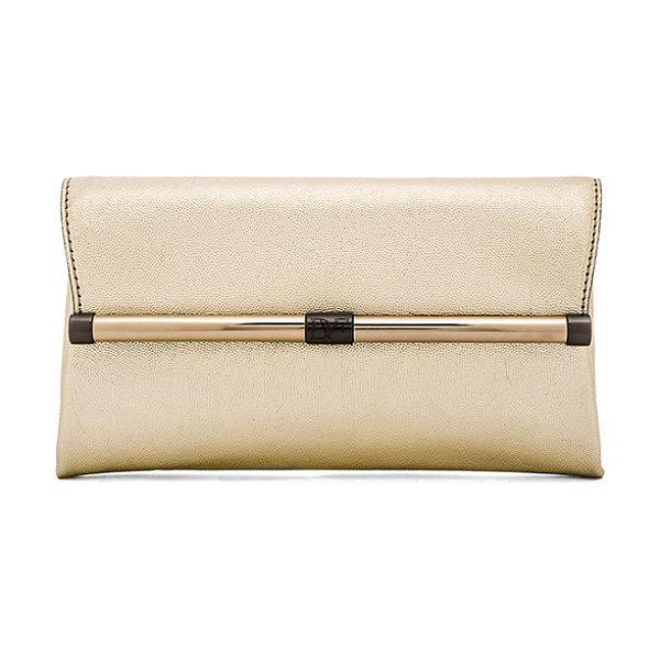 Diane Von Furstenberg Metallic envelope clutch in metallic gold - Metallic leather exterior with jacquard fabric lining....
