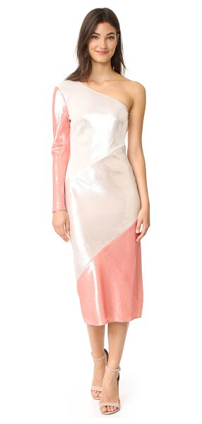 Diane Von Furstenberg one shoulder bias midi dress in ivory/light frappe/deep rose - This eye-catching DVF gown is covered in a smooth wash...