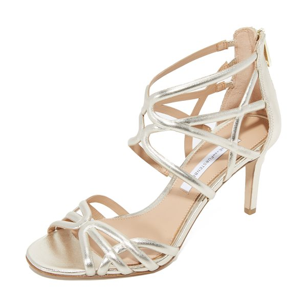 Diane Von Furstenberg rao sandals in gold - Scalloped straps lend a caged effect to these glam...