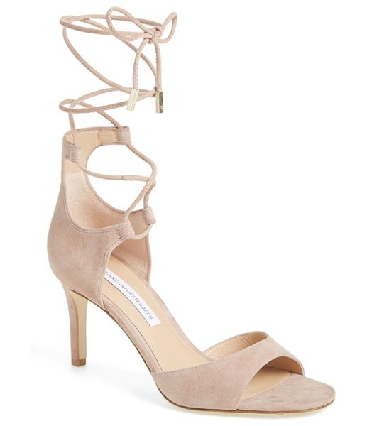 Diane Von Furstenberg 'rimini' ankle wrap sandal in powder suede - A sultry leather sandal lifted by a slender heel...