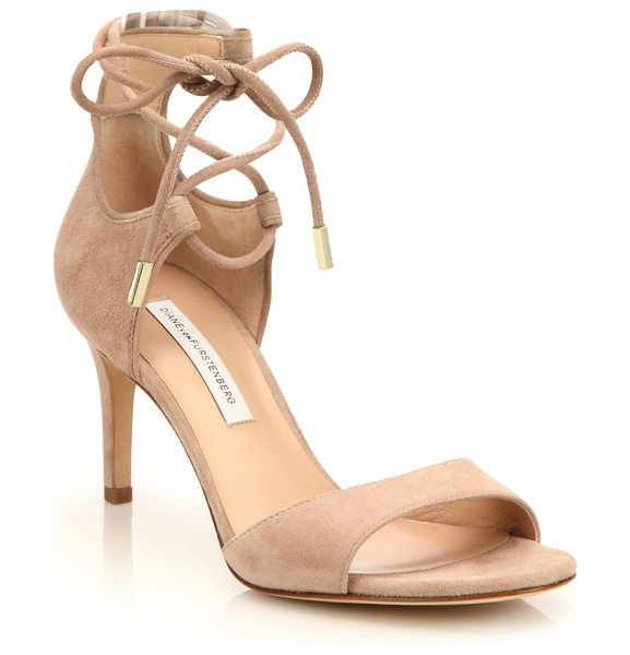 Diane Von Furstenberg rimini suede lace-up sandals in nude