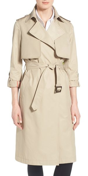Diane Von Furstenberg roll sleeve long belted trench coat in khaki - Equipped with button tabs to roll the sleeves, a...