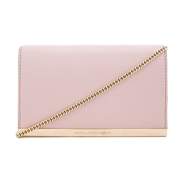 Diane Von Furstenberg Soiree leather crossbody in blush - Leather exterior with jacquard fabric lining. Flap top...