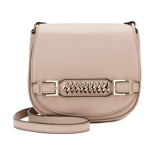 Diane Von Furstenberg Stevie leather saddle bag in latte - Diane von Furstenberg pebbled calf leather saddle bag....