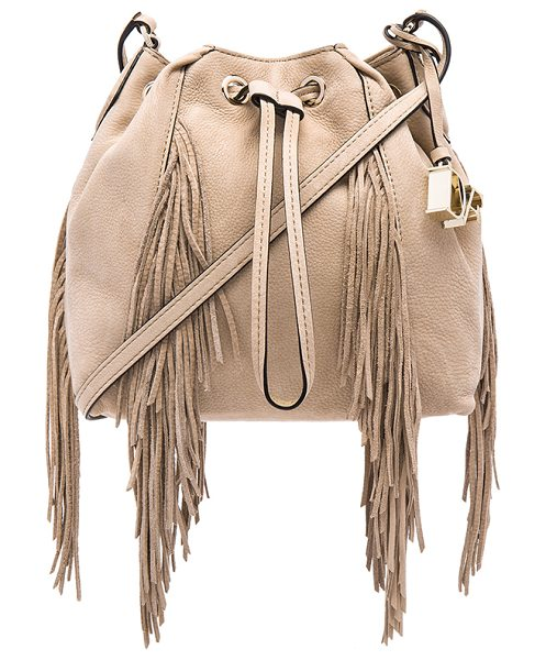 Diane Von Furstenberg Voyage boho bucket in beige - Leather exterior with jacquard fabric lining. Adjustable...