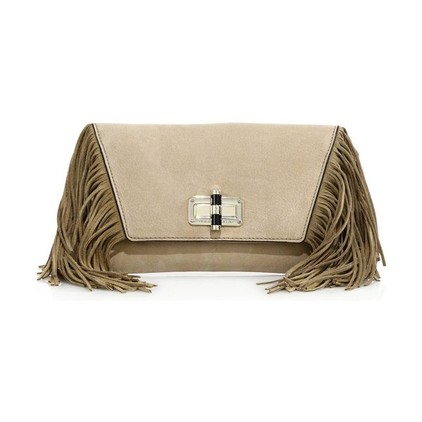 Diane Von Furstenberg voyage boho fringe leather clutch in sand