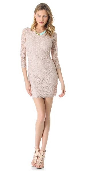 Diane Von Furstenberg zarita lace dress in nude - A demure DVF sheath dress with timeless appeal, cut from...