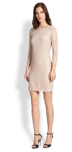 Diane Von Furstenberg zarita lace dress in nude - Gorgeous floral lace romances this fitted sheath, offset...