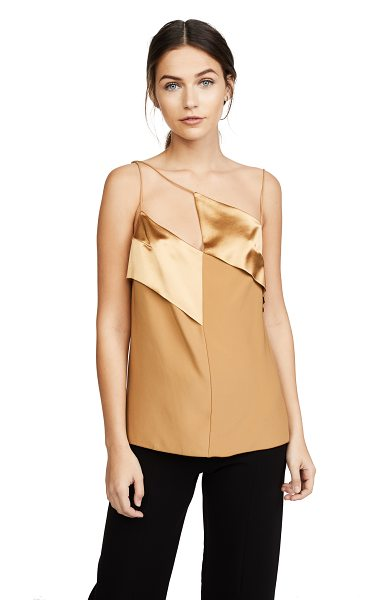 Dion Lee diagonal cami in gold - This silk-charmeuse Dion Lee camisole has matte and...