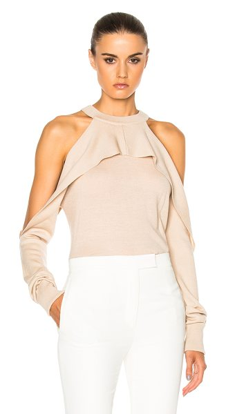 Dion Lee Merino Release Sleeve Sweater in blush - 100% merino wool. Made in China. Hand wash. Knit fabric....