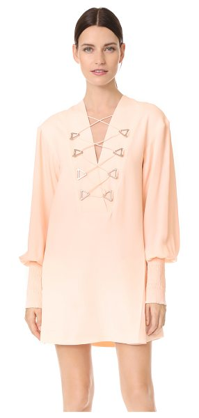 Dion Lee military blouson mini dress in pink - NOTE: Sizes listed are UK/Australian. A striking pink...