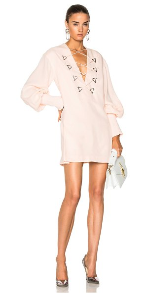Dion Lee Military Blouson Mini Dress in pink - Self: 100% silk - Lining: 100% poly.  Made in China. ...