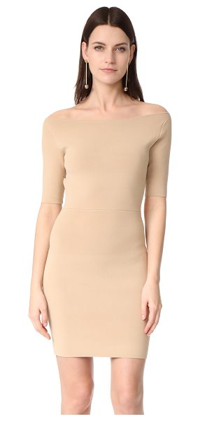 Dion Lee rib knit pencil dress in sand - NOTE: Sizes listed are Australian. A shoulder-baring...