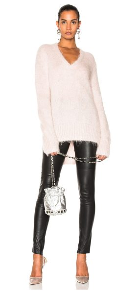 DION LEE V Neck Sweater in pink - 55% mohair 30% nylon 15% wool.  Made in China.  Dry...