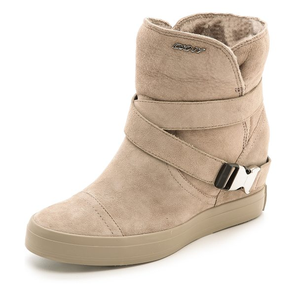 DKNY Catherine shearling wedge booties - Sneaker inspired DKNY booties gain easy height with an...