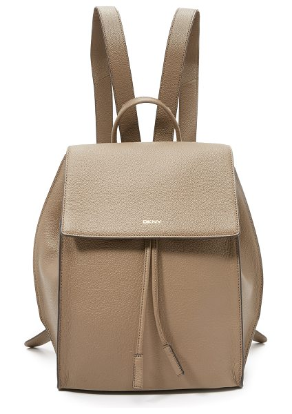 DKNY Chelsea backpack in khaki - A sturdy DKNY backpack made from pebbled leather....