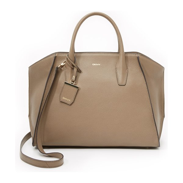 DKNY Chelsea large satchel in khaki - Raised seams add sculptural detail to this spacious DKNY...