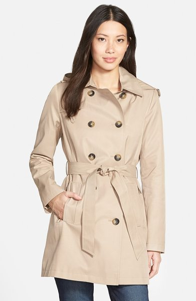 DKNY double breasted trench coat with removable hood in sand - A three-quarter-length trench spans the seasons-and the...