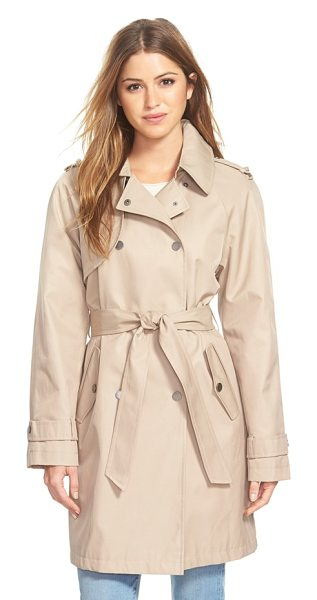 DKNY double breasted trench coat in sand - Classic trench styling creates timeless appeal for a...