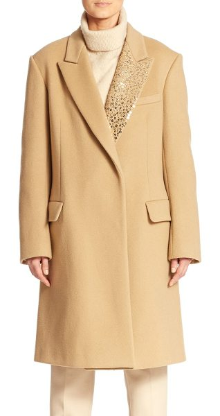 DKNY Embellished notched-collar coat in camel - Shimmering tonal sequins add elegant femininity to this...