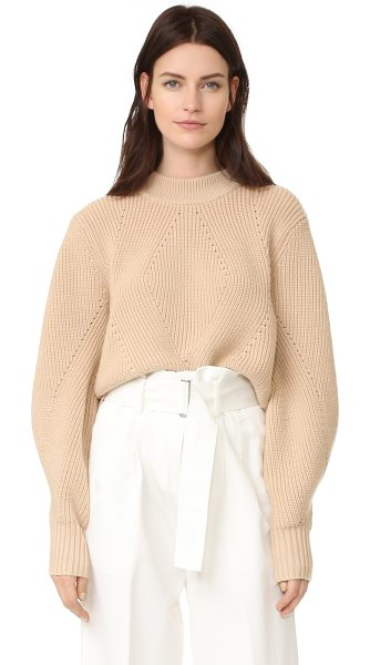 DKNY extra long sleeve pullover with back opening in nude - A cropped DKNY pullover with a mock neckline and...