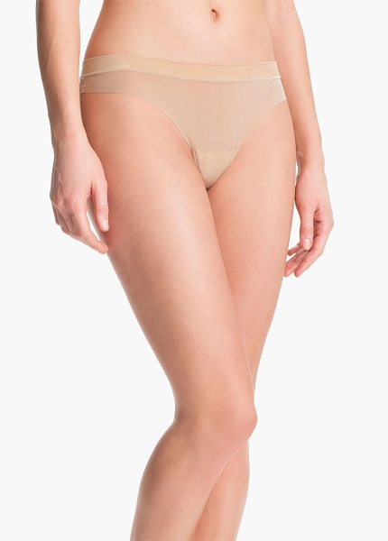 DKNY fusion thong - A smooth, banded waist offers a hint of textural...