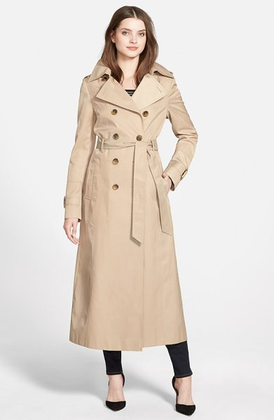 DKNY hooded double breasted maxi trench coat in sand - An elegantly long trench is ready for inclement weather...