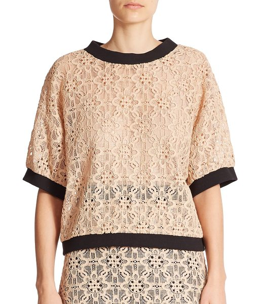 DKNY Lace contrast-trim top in powder-black - Romantic floral lace adds femininity to this oversized...