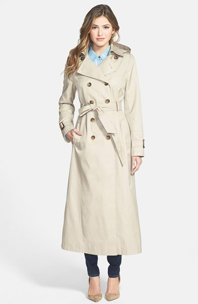 DKNY lea double breasted maxi trench coat with detachable hood in sand - An elegantly long trench is ready for spring showers...